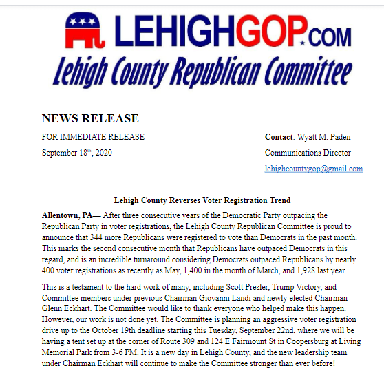 Lehigh County Reverses Voter Registration Trend!